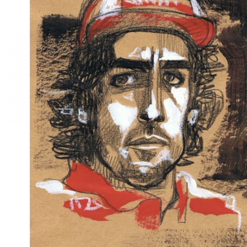 Fernando Alonso's portrait painted by the respected Italian artist, Anna Pennati