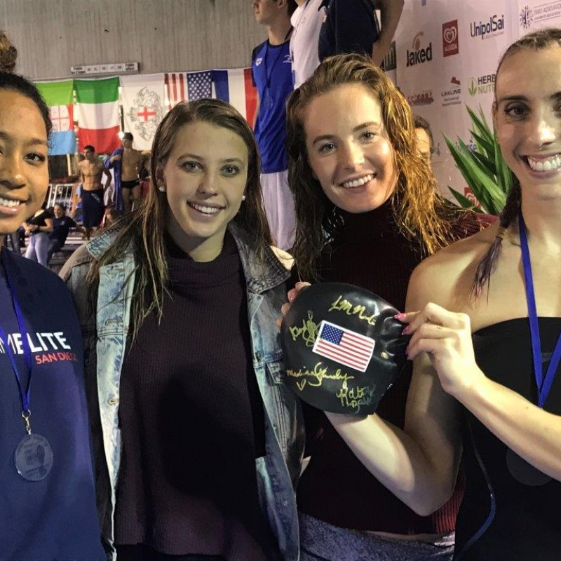 Madison Kennedy's Worn Swimming Cap - Signed by American Swimmers