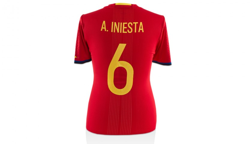 Iniesta's Spain Worn and Signed Shirt, 2015
