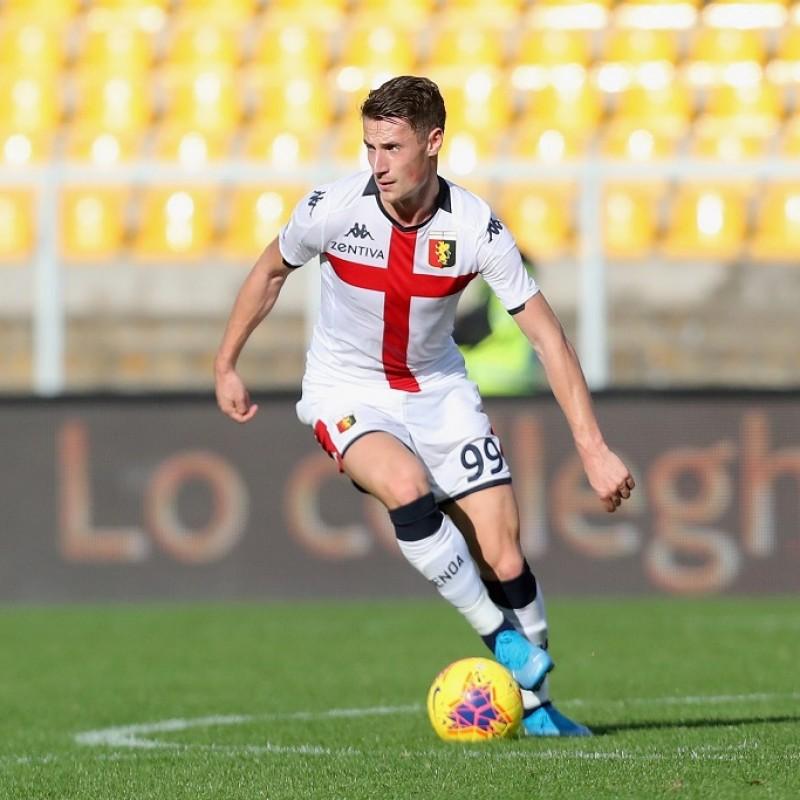 Pinamonti's Genoa Match-Issued Signed Shirt, 2019/20