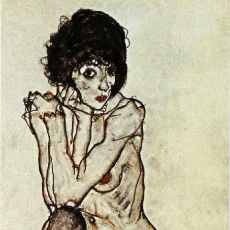 """Donna Nuda"" - Stampa Litografica Offset di Egon Schiele"