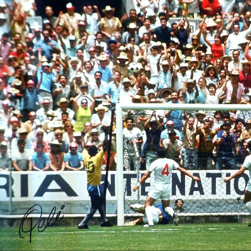 Pelé and Gordon Banks Signed Large Canvas Photo