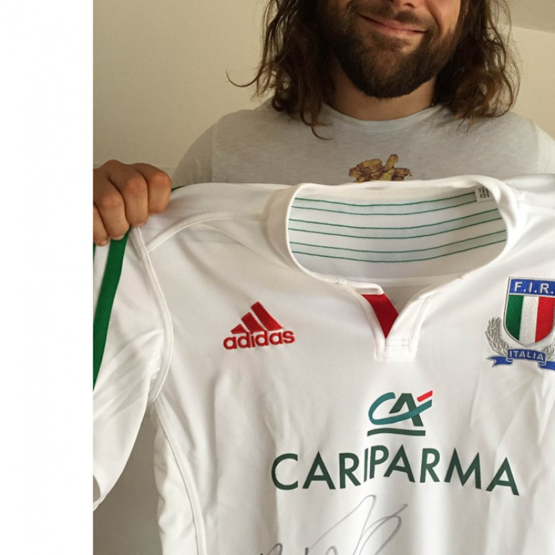 Castrogiovanni match worn shirt in Italy-SouthAfrica, 11/22/14 - signed