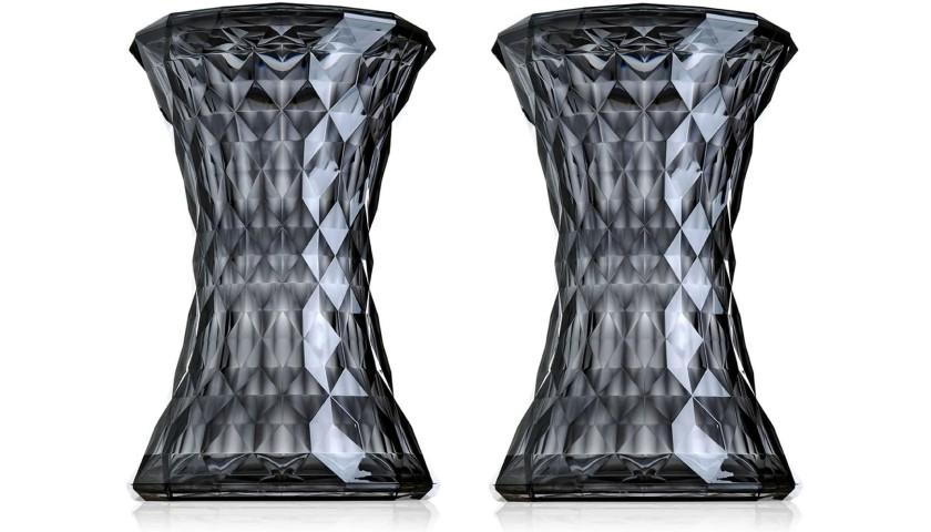 Pair of Kartell STONE Smoke Gray Stools - Designer Marcel Wanders