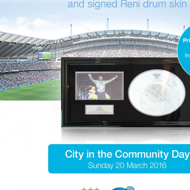 Two VIP Tickets to Watch The Stone Roses at the Etihad Stadium, Manchester, and a Signed Reni Drum Skin