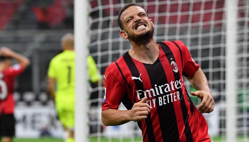 Florenzi's Worn and Signed Shirt, AC Milan-Venezia 2021