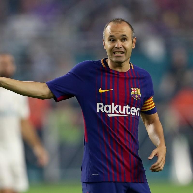 "Iniesta's Match-Issued ""Tots Som Barcelona"" Shirt"