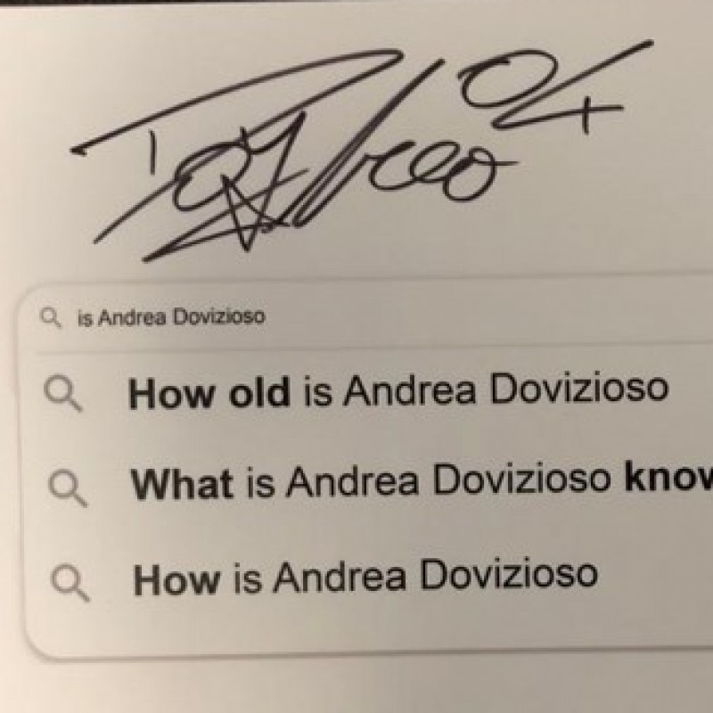Signed Andrea Dovizioso 'Top 3 Google Searches' Board from the Grand Prix of Styria
