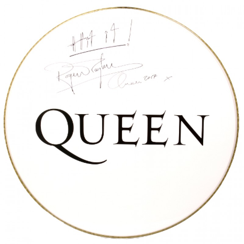 Queen Drum Head and Drumsticks Signed by Roger Taylor