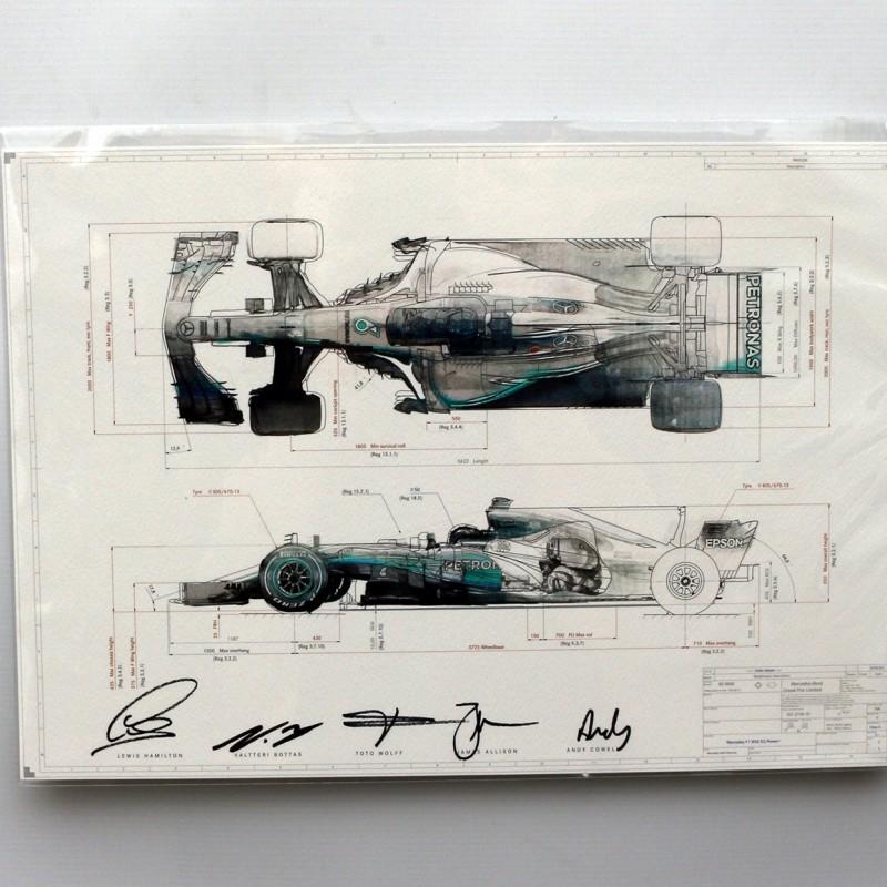 Stampa Petronas Mercedes-AMG F1 2017 - autografata