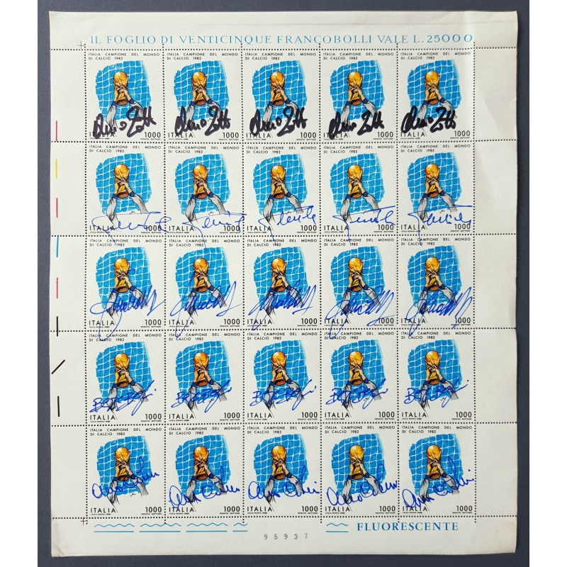 Sheet of 1982 World Cup Stamps with 25 Autographs