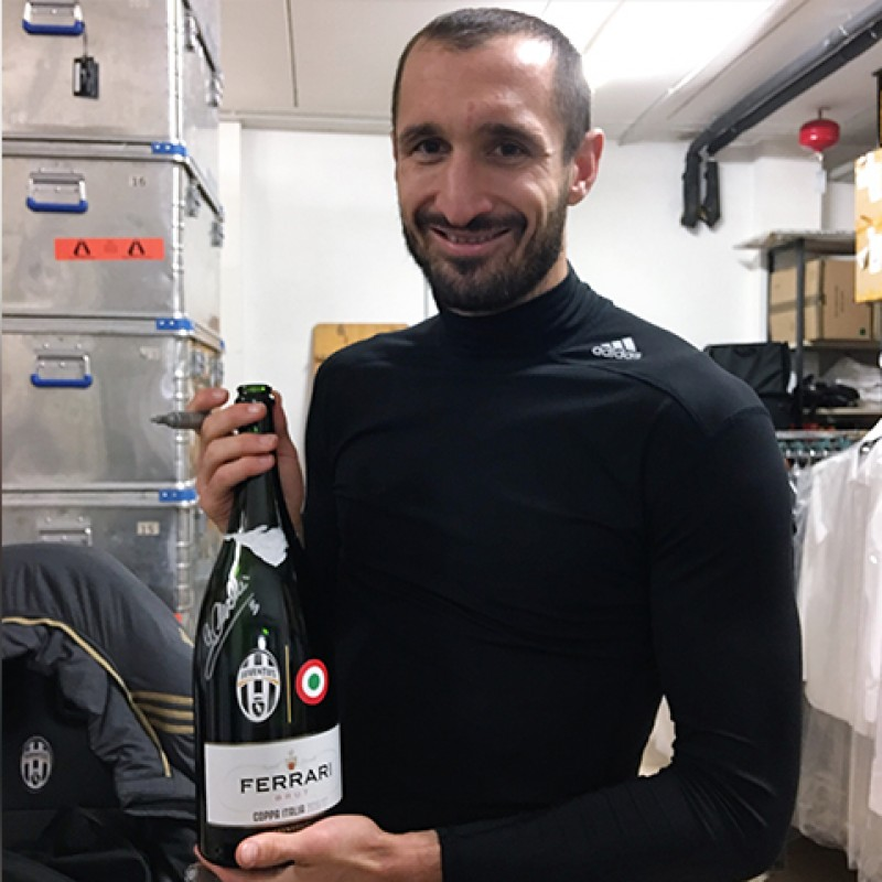 Ferrari Bottle Uncorked by Juventus for 2017 TIM Cup, Signed by Chiellini
