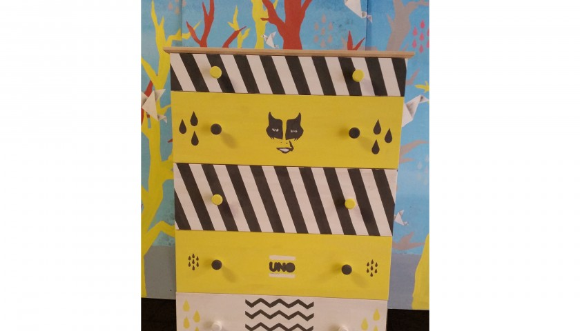 Ikea chest of drawers decorated by the streetartist UNO - 79x39x127 cm