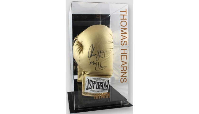 Thomas 'Hitman' Hearns Signed Gold Everlast Boxing Glove