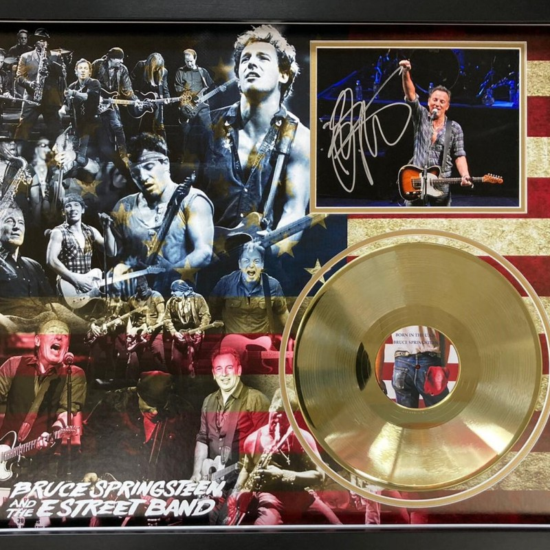 Bruce Springsteen Signed and Framed Photo And Gold Disc Display