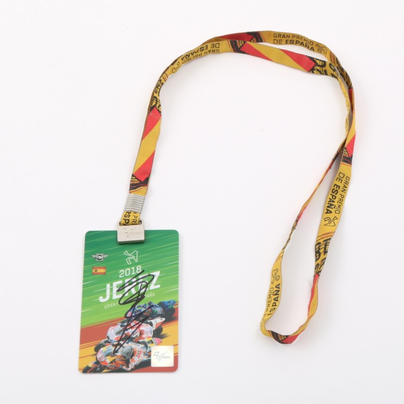 Paddock Pass from Jerez de la Frontera GP 2018 Signed by Valentino Rossi