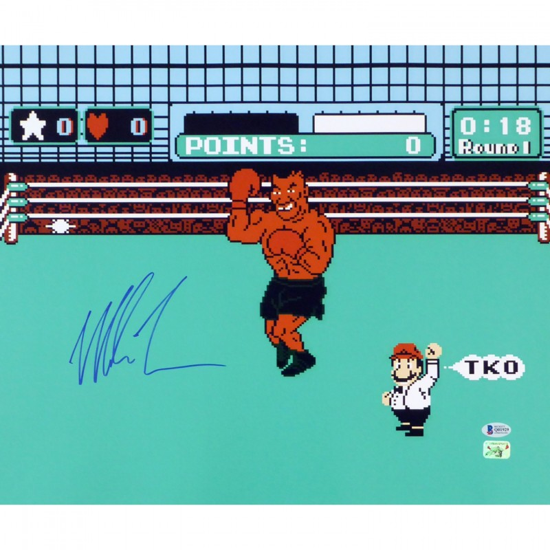 """Mike Tyson Hand Signed """"Punch Out"""" 16""""x20"""" Photograph"""