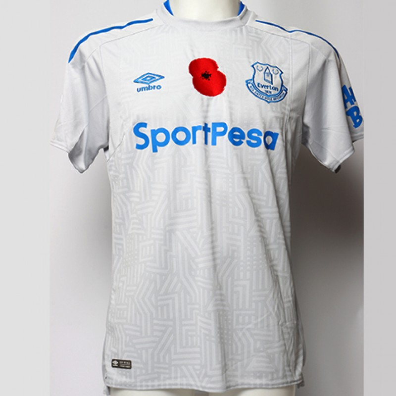 Issued Poppy Away Game Shirt Signed by Everton FC's Mason Holgate