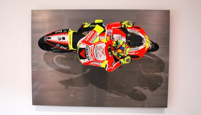 Valentino Rossi Ducati Original Steel Artwork by DrAutoArt