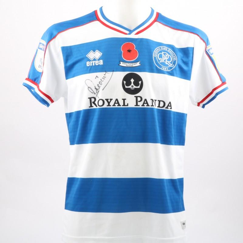 Luke Freeman's Queens Park Rangers Worn and Signed Home Poppy Shirt