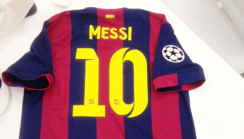 on sale e2d81 3a227 FCB Messi's official football jersey with Champions League Season 2014/15  patch, signed by all the players - CharityStars
