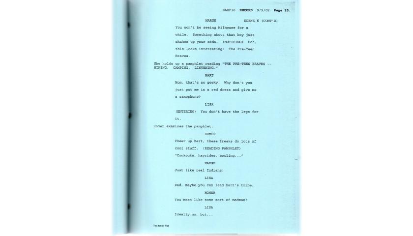 The Simpsons Original Script - Bart of War