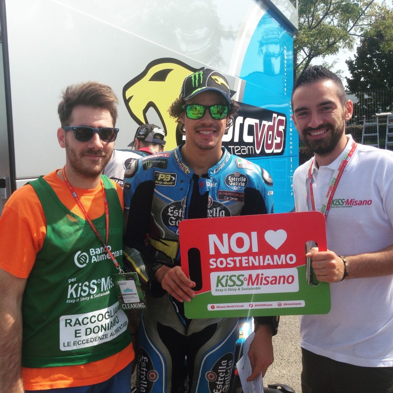 KiSS Misano Banner Signed by Morbidelli, Abraham, Smith and Espargarò