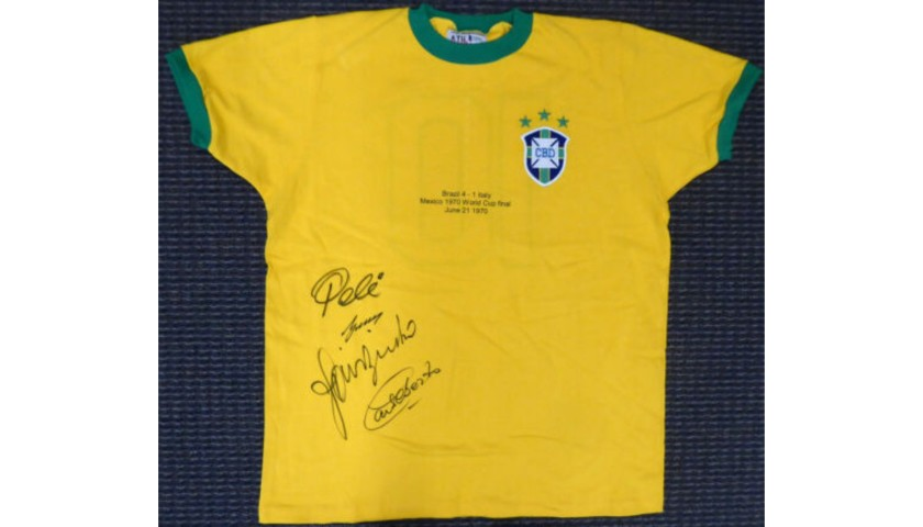 1970 World Cup Brazil Hand Signed Jersey