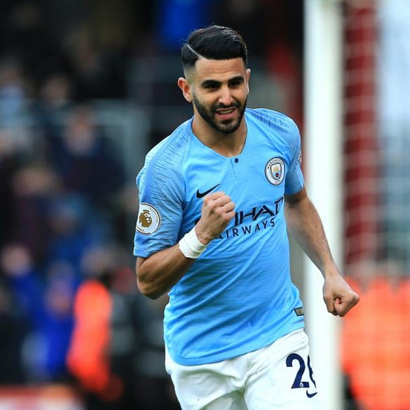 Mahrez' Manchester City Match White Shorts, Premier League 2018/19