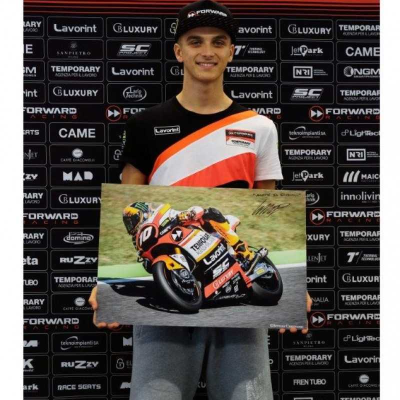 Signed Professional Photo Print of Racer Luca Marini