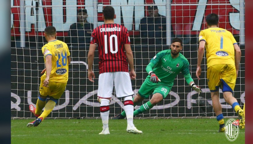 Donnarumma's Worn and Signed Shirt, Milan-Frosinone 2019