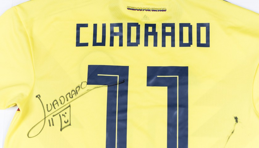 newest 9bb33 c55ab Official 2018 Colombia Shirt Signed by Cuadrado - CharityStars