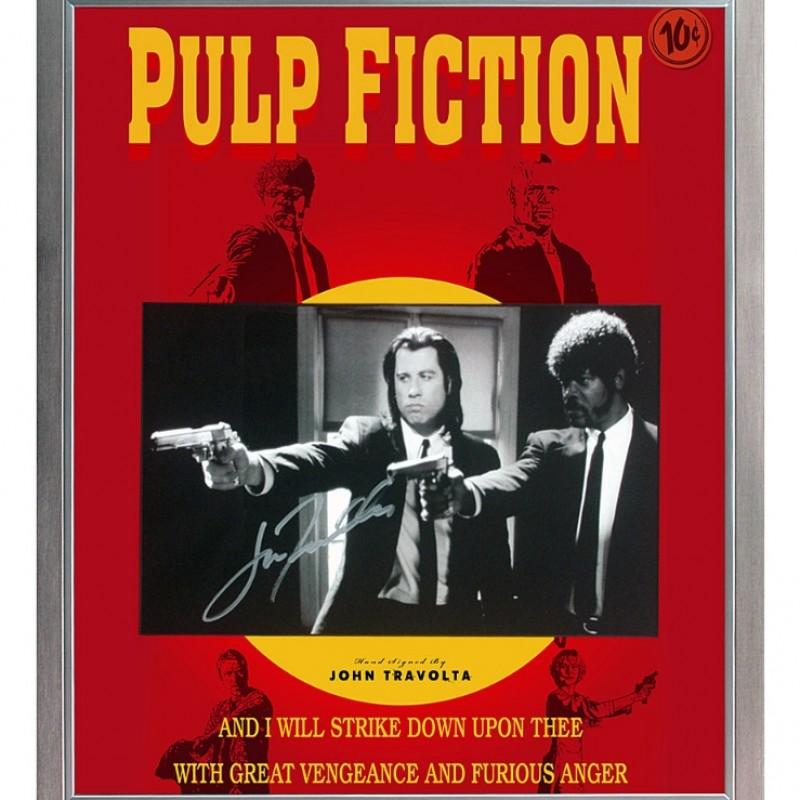 John Travolta Signed 'Pulp Fiction' Movie Poster Presentation