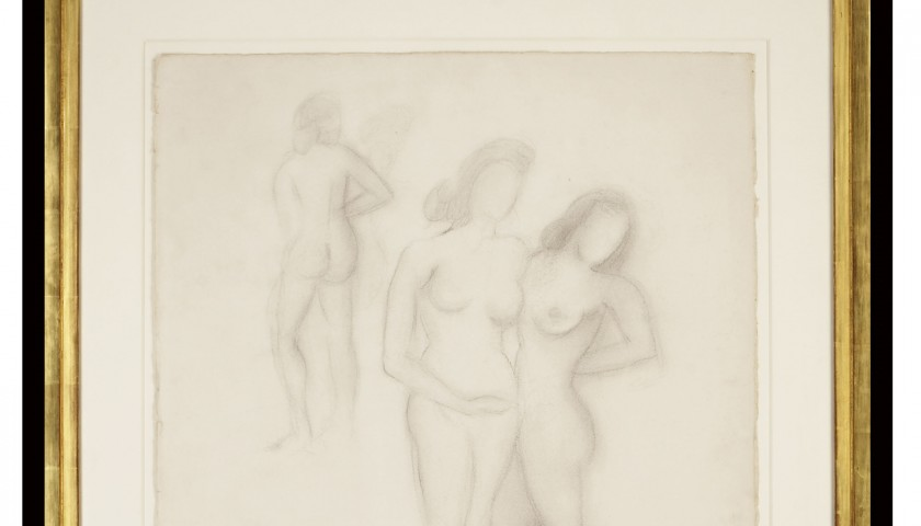 """Les Trois Graces"" of Salvador Dali, Original Pencil Drawing"