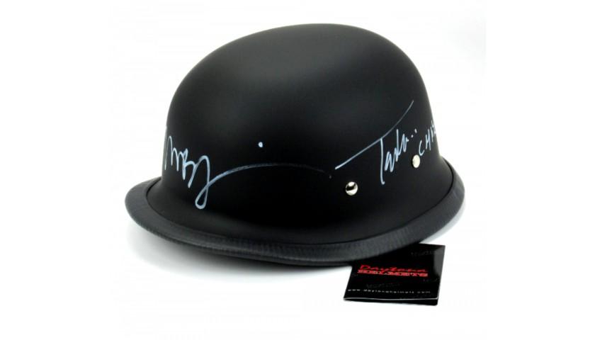 Tommy Flanagan & Mark Boone Jr Signed Black Matte Daytona Authentic Biker Helmet