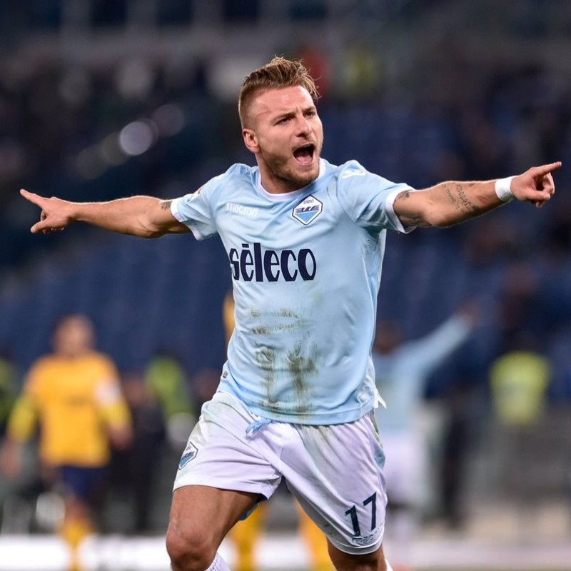 Immobile's Match-Issue/Worn Shirt and Sports Bib, Lazio-Steaua Bucarest, EL 2017/18
