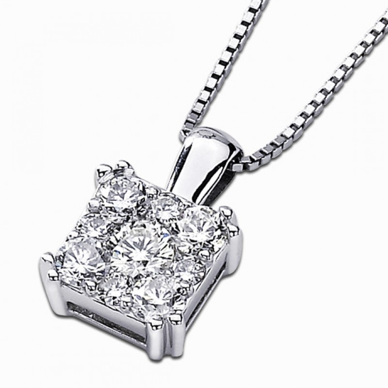14KT White Gold Square Diamond Cluster Pendant with .75 TDW