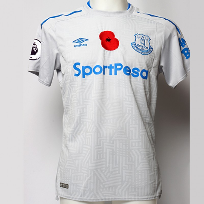 Worn Poppy Away Game Shirt Signed by Everton FC's Tom Davies