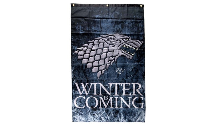 """Isaac Hempstead Wright Signed Game of Thrones Winter is Coming Banner with """"Bran"""" Inscription"""