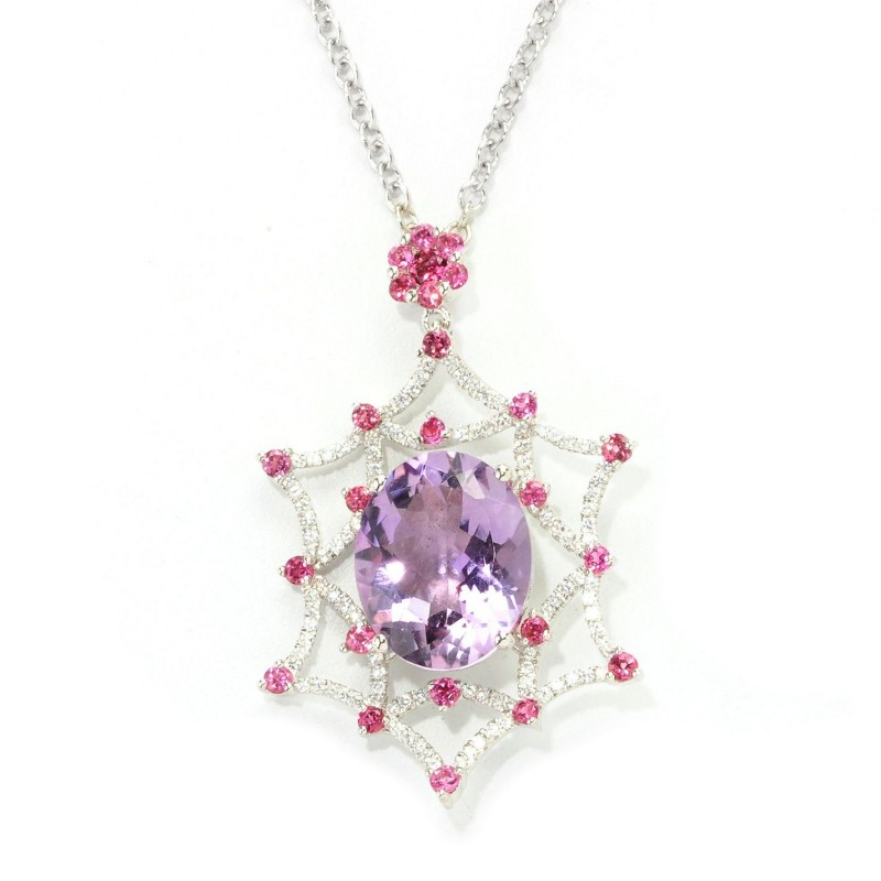 Pink Amethyst and Multi Gem Pendant