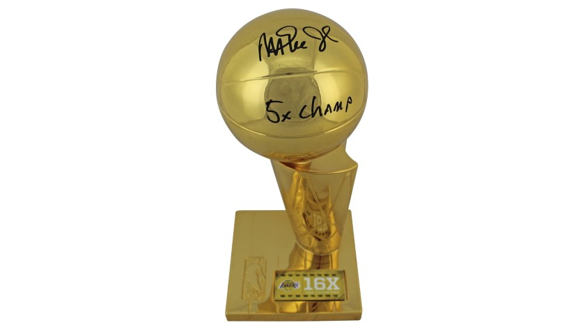 Magic Johnson Hand Signed Replica NBA Championship Trophy