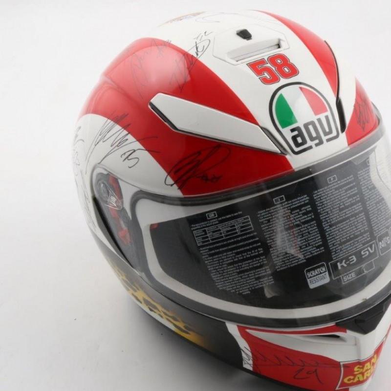 Official Simoncelli helmet replica, signed by Moto GP pilots