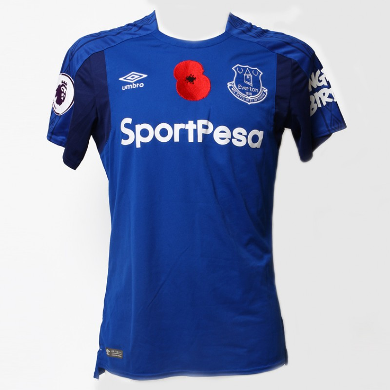 Worn Poppy Home Game Shirt Signed by Everton FC's Jonjoe Kenny