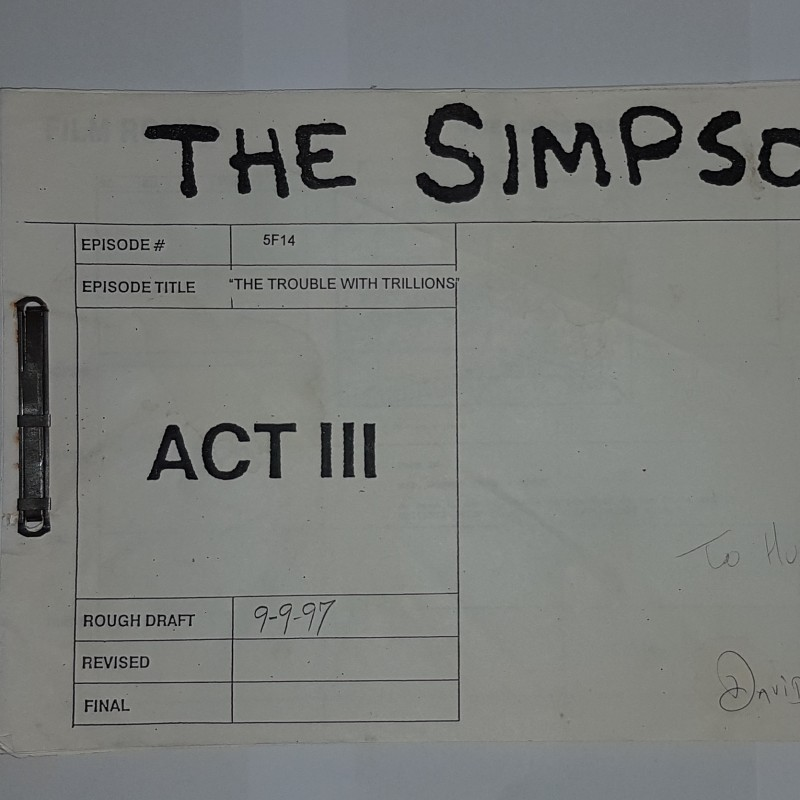 "Original Storyboard Simpsons: 5F14 ""The Trouble with Trillions"""