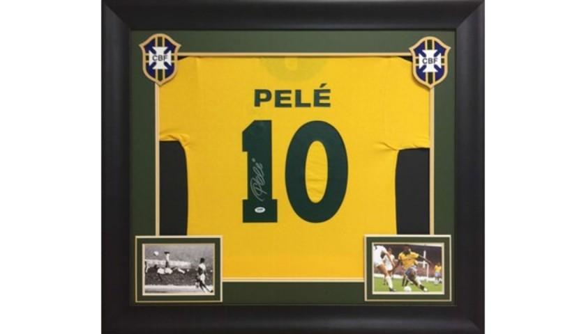 Pele Signed and Framed CBF Brazil Shirt
