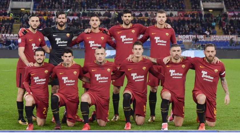 Romagnoli's Bench-Worn Roma-Cagliari Shirt, Special Sponsor Telethon