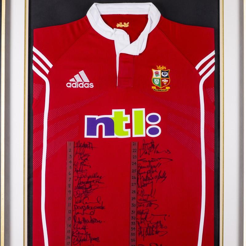 Lions 2001 Australian Tour Squad Signed Framed Shirt