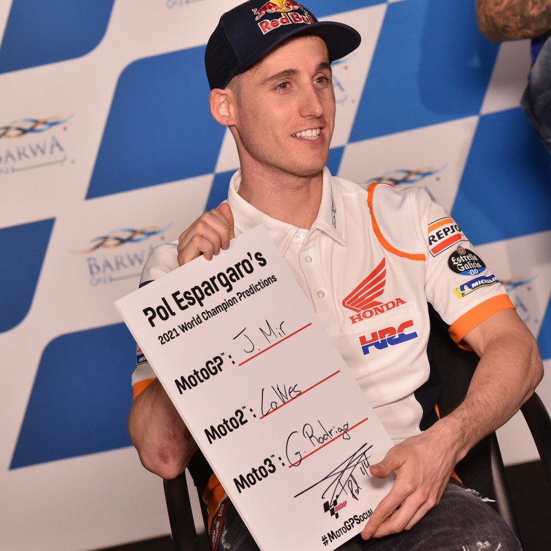 Signed '2021 Championship Winner Predictions' board signed by Pol Espargaro