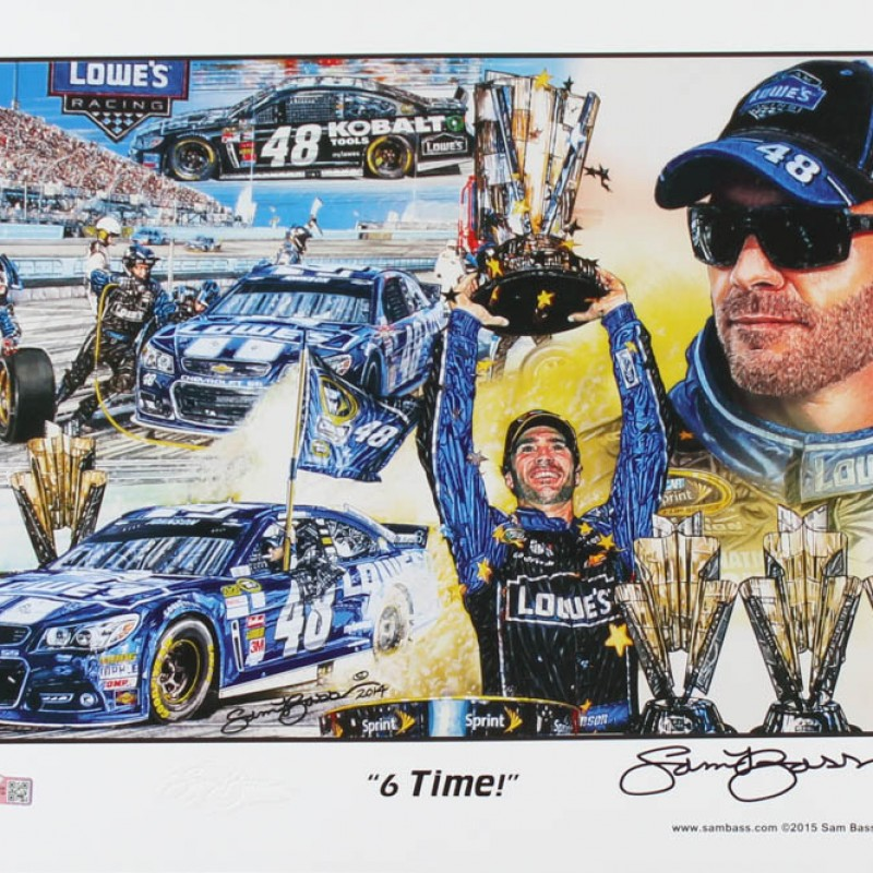 """Sam Bass Signed LE 2015 Jimmie Johnson """"6-Time!"""" Print"""