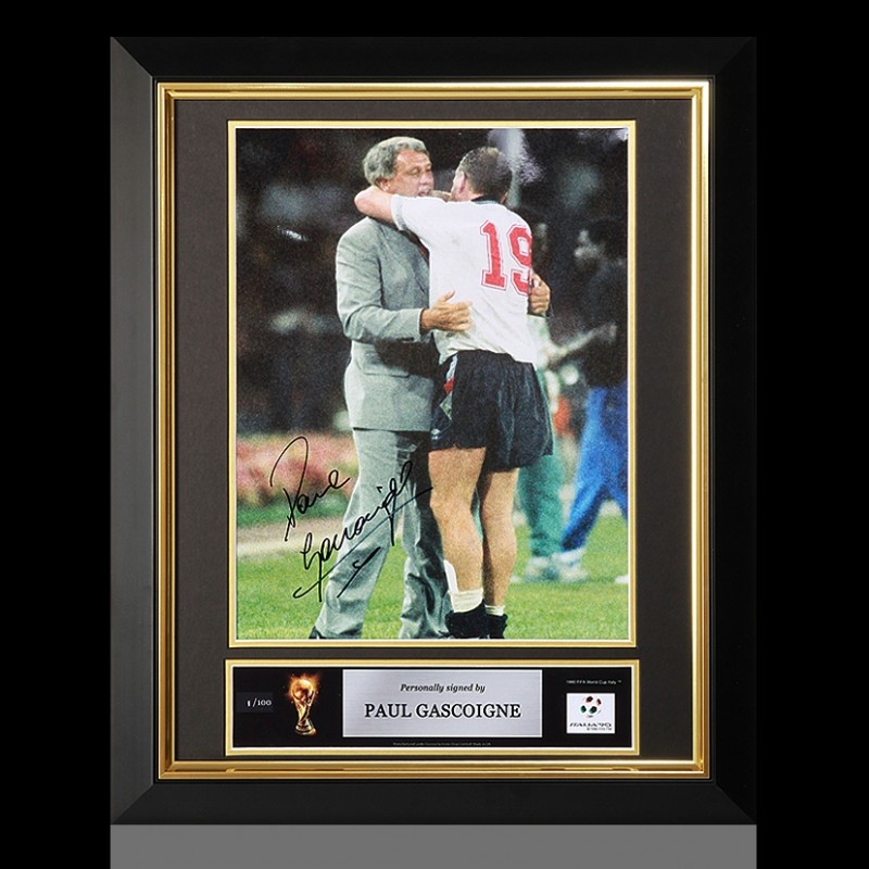 Paul Gascoigne Official FIFA World Cup Signed and Framed England Photo